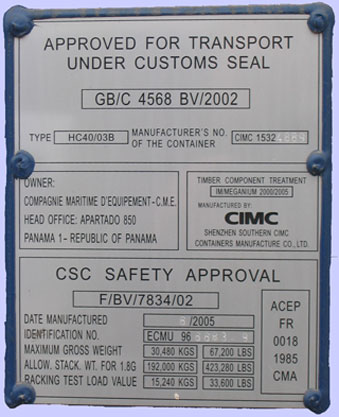 CSC plate / Convention for Safe Containers plate
