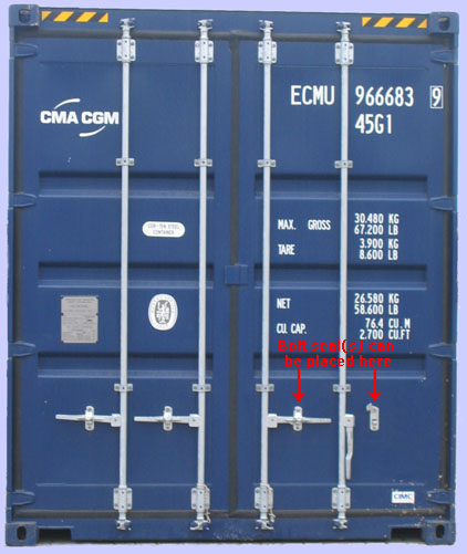 container doors with bolt seal direction